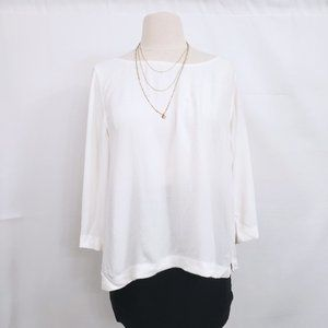 Eileen Fisher Boat Neck Ivory Classic Blouse